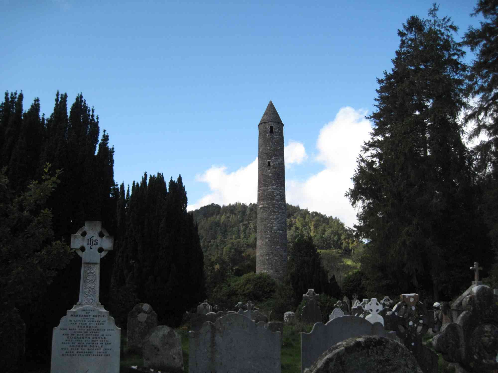 Glendalough's tower seen from a distance