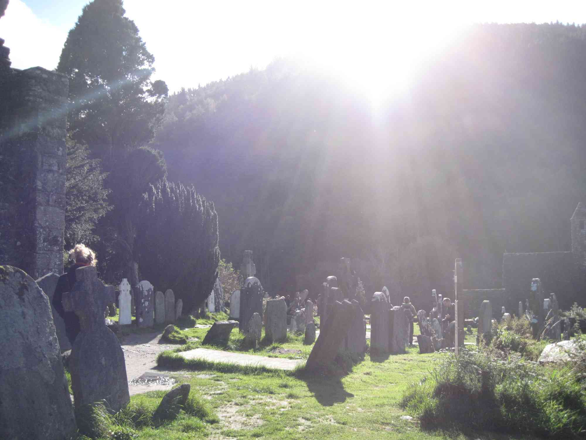 Sunlight pours down on Glendalough